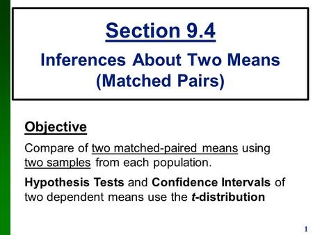 1 Objective Compare of two matched-paired means using two samples from each population. Hypothesis Tests and Confidence Intervals of two dependent means.