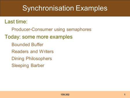 Synchronisation Examples