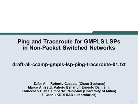1 Ping and Traceroute for GMPLS LSPs in Non-Packet Switched Networks draft-ali-ccamp-gmpls-lsp-ping-traceroute-01.txt Zafar Ali, Roberto Cassata (Cisco.