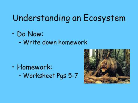 Understanding an Ecosystem Do Now: –Write down homework Homework: –Worksheet Pgs 5-7.