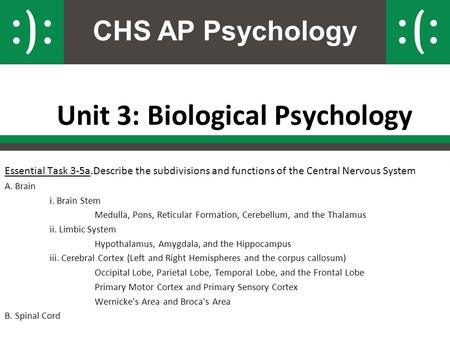 CHS AP Psychology Unit 3: Biological Psychology Essential Task 3-5a.Describe the subdivisions and functions of the Central Nervous System A. Brain i. Brain.