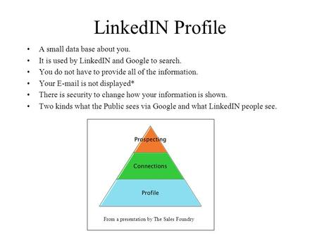 LinkedIN Profile A small data base about you. It is used by LinkedIN and Google to search. You do not have to provide all of the information. Your E-mail.