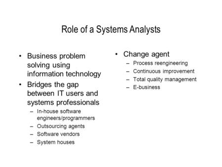 Role of a Systems Analysts Business problem solving using information technology Bridges the gap between IT users and systems professionals –In-house software.