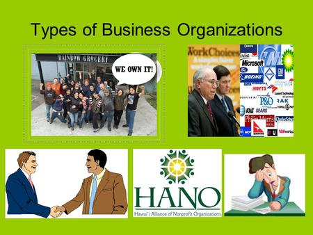 Types of Business Organizations. 1) Sole Proprietorships 2) Partnerships 3) Corporations 4) Cooperatives/Nonprofit Organizations.