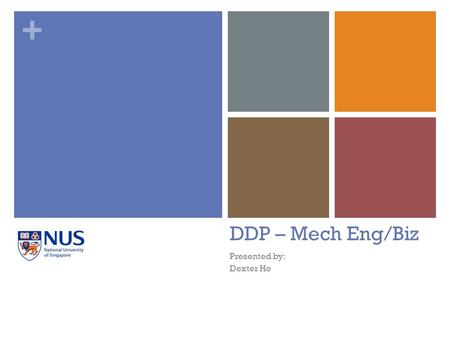 + DDP – Mech Eng/Biz Presented by: Dexter Ho. + Outline Structure General Sample Timetable Thesis Degree Nuances The DDP.