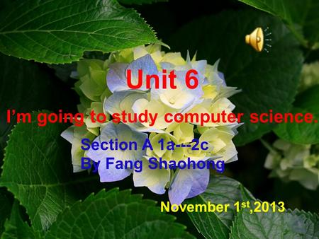 Unit 6 I'm going to study computer science. November 1 st,2013 Section A 1a---2c By Fang Shaohong.
