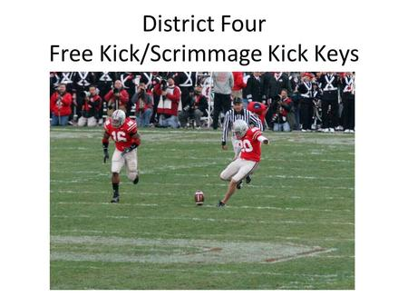 District Four Free Kick/Scrimmage Kick Keys. Symbols Legend Kicker Referee Eligible/Back Head Linesman Umpire Captain Snapper QB / Kicker Ineligible Line.