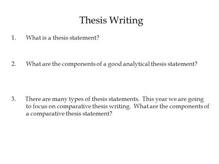 components of a good thesis A thesis statement usually appears at the middle or end of the introductory paragraph of a paper, and it offers a concise summary of the main point or.