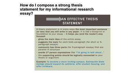 How do I compose a strong thesis statement for my informational research essay?