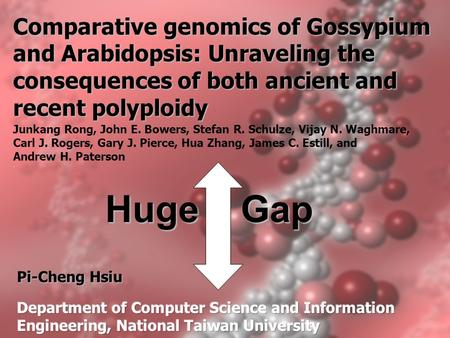 Comparative genomics of Gossypium and Arabidopsis: Unraveling the consequences of both ancient and recent polyploidy Junkang Rong, John E. Bowers, Stefan.