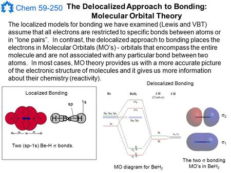 Chem 59-250 The Delocalized Approach to Bonding: Molecular Orbital Theory The localized models for bonding we have examined (Lewis and VBT) assume that.