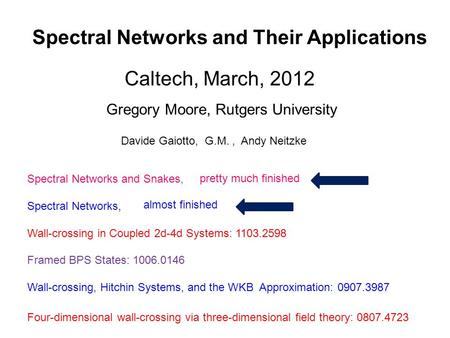Spectral Networks and Their Applications Gregory Moore, Rutgers University Caltech, March, 2012 Davide Gaiotto, G.M., Andy Neitzke Spectral Networks and.