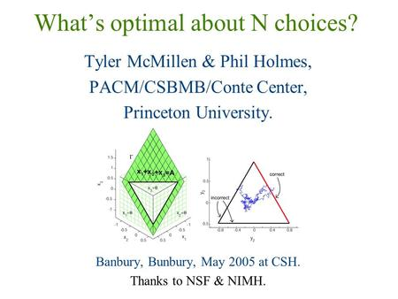 What's optimal about N choices? Tyler McMillen & Phil Holmes, PACM/CSBMB/Conte Center, Princeton University. Banbury, Bunbury, May 2005 at CSH. Thanks.
