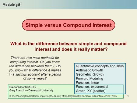 1 There are two main methods for computing interest. Do you know the difference between them? Do you know what difference it makes in a savings account.