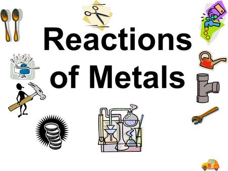Reactions of Metals Metal Reactions Metal + acid Metal + oxygen Metal + water.