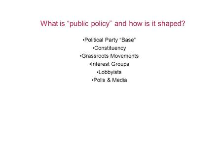 "What is ""public policy"" and how is it shaped? Political Party ""Base"" Constituency Grassroots Movements Interest Groups Lobbyists Polls & Media."