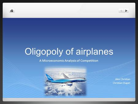 Oligopoly of airplanes A Microeconomic Analysis of Competition Alex Christian Christian Dugan.
