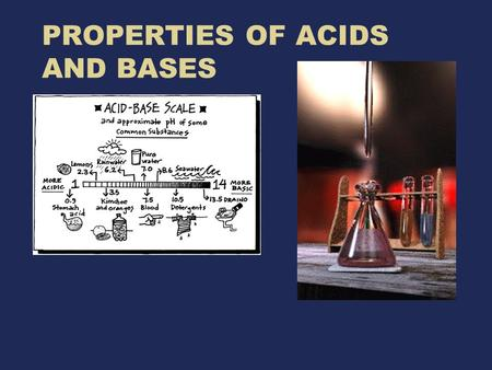 PROPERTIES OF ACIDS AND BASES. Acids taste sour or tart (vinegar, lemons) aqueous solutions of acids are electrolytes cause indicators to change colors.