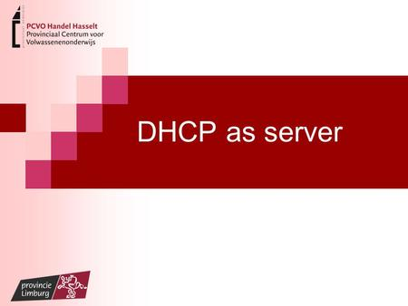 DHCP as server. What is Dynamic Host Configuration Protocol (DHCP)? Dynamic Host Configuration Protocol (DHCP) is network protocol for automatically assigning.