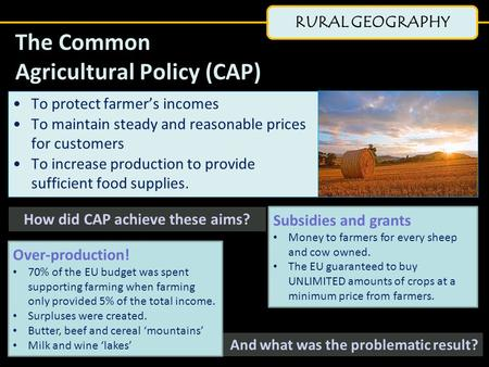 RURAL GEOGRAPHY The Common Agricultural Policy (CAP) To protect farmer's incomes To maintain steady and reasonable prices for customers To increase production.