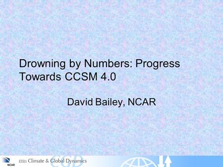 Drowning by Numbers: Progress Towards CCSM 4.0 David Bailey, NCAR.