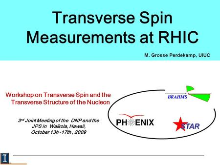 M. Grosse Perdekamp, UIUC Transverse Spin Measurements at RHIC Workshop on Transverse Spin and the Transverse Structure of the Nucleon 3 rd Joint Meeting.