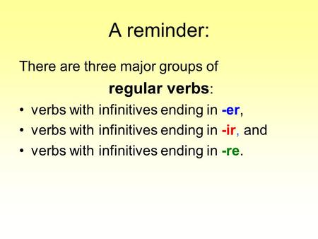 A reminder: There are three major groups of regular verbs : verbs with infinitives ending in -er, verbs with infinitives ending in -ir, and verbs with.