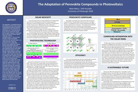 The Adaptation of Perovskite Compounds in Photovoltaics Matt Weiss | Will Humble University of Pittsburgh SSOE SOLAR NECESSITY EFFICIENCY A SUSTAINABLE.