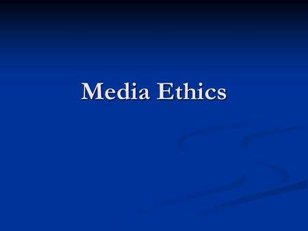 Media Ethics. Morals vs. Ethics Morals - a religious or philosophical code of behavior Morals - a religious or philosophical code of behavior Ethics -