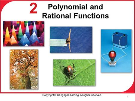 1 Copyright © Cengage Learning. All rights reserved. 2 Polynomial and Rational Functions.