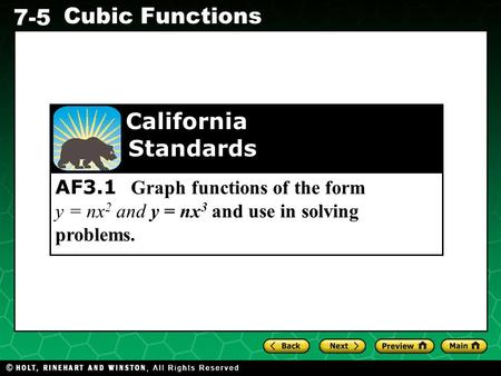 Standards California AF3.1 Graph functions of the form