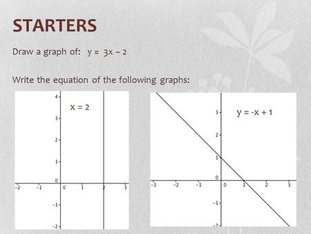 STARTERS Draw a graph of: y = 3x – 2 Write the equation of the following graphs: x = 2 y = -x + 1.