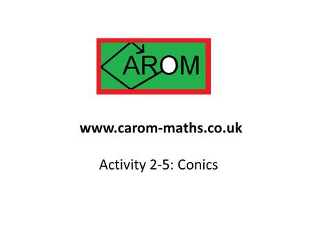 Activity 2-5: Conics www.carom-maths.co.uk. Take a point A, and a line not through A. Another point B moves so that it is always the same distance from.