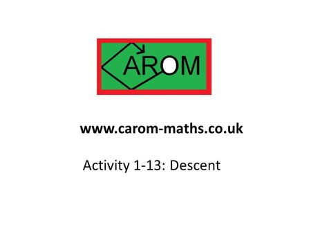 Activity 1-13: Descent www.carom-maths.co.uk. This problem is due to Euler. Task: Show that the equation x 3 + 2y 3 + 4z 3 = 0 has the sole solution (0,