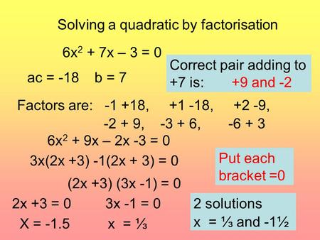 Solving a quadratic by factorisation 6x 2 + 7x – 3 = 0 ac = -18 b = 7 Factors are: -1 +18, +1 -18, +2 -9, -2 + 9, -3 + 6, -6 + 3 Correct pair adding to.
