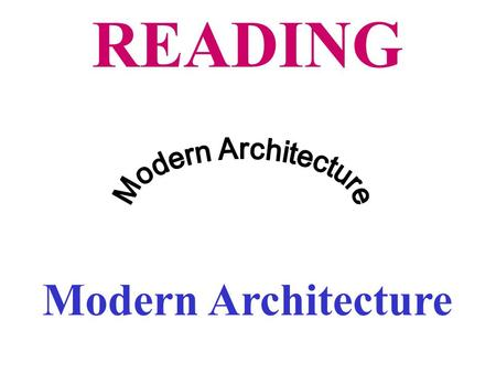 READING Modern Architecture. I.Pre-reading 1.Tell whether the following pictures are modern or classical.