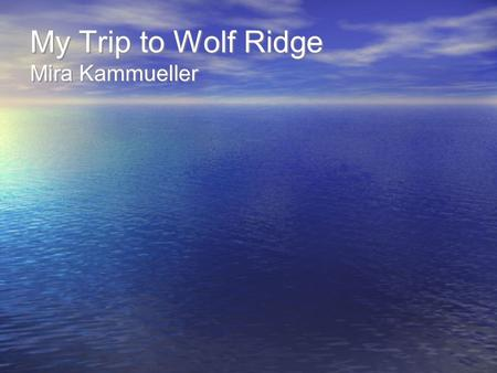 My Trip to Wolf Ridge Mira Kammueller. I Wonder about Wolf Ridge… I wonder what our dorms will be like… Will we be able to choose who we're with? Will.