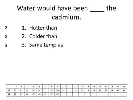 Water would have been ____ the cadmium. 1.Hotter than 2.Colder than 3.Same temp as 1234567891011121314151617181920 2122232425262728293031323334353637383940.