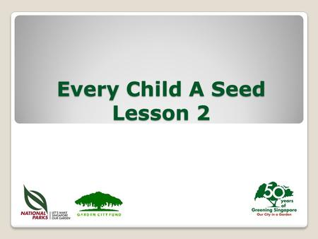 Every Child A Seed Lesson 2. Copyright © 2013 National Parks Board Parts of a Seed Seed coat Cotyledon (seed leaf) Radicle Plumule Protects the seed Provides.