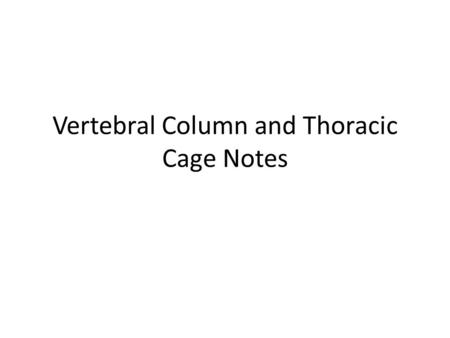 Vertebral Column and Thoracic Cage Notes