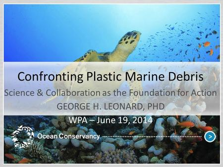 Confronting Plastic Marine Debris Science & Collaboration as the Foundation for Action GEORGE H. LEONARD, PHD WPA – June 19, 2014.