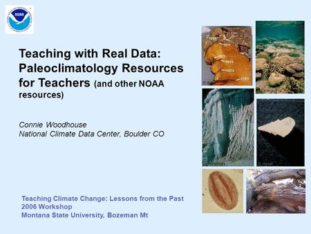 Teaching Climate Change: Lessons from the Past 2006 Workshop Montana State University, Bozeman Mt Teaching with Real Data: Paleoclimatology Resources for.