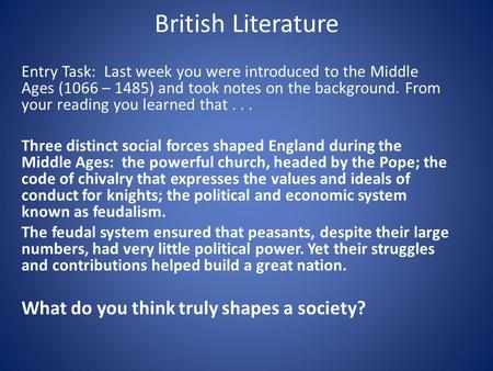 british literature essay questions