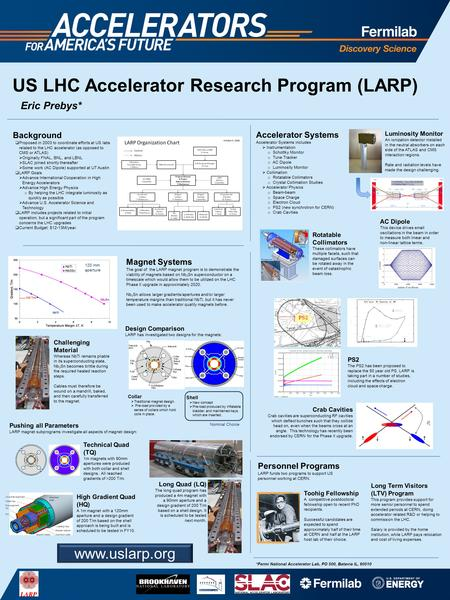 US LHC Accelerator Research Program (LARP) Background  Proposed in 2003 to coordinate efforts at US labs related to the LHC accelerator (as opposed to.