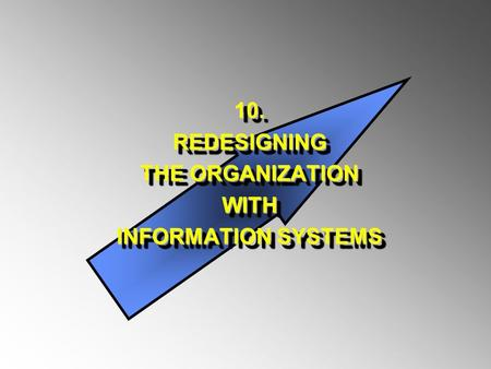 10.REDESIGNING THE ORGANIZATION WITH INFORMATION SYSTEMS 10.REDESIGNING THE ORGANIZATION WITH INFORMATION SYSTEMS.