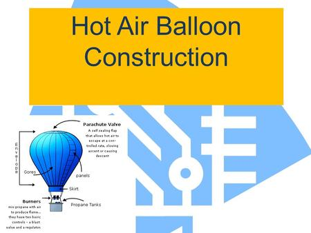 Hot Air Balloon Construction. Materials Needed: 9 sheets tissue paper Construction paper strip Glue stick, scissors, ruler, pencil Hot air balloon launcher.
