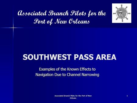 SOUTHWEST PASS AREA Examples of the Known Effects to Navigation Due to Channel Narrowing Associated Branch Pilots for the Port of New Orleans Associated.