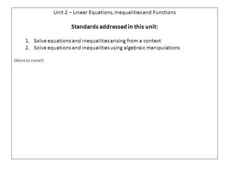 Unit 2 – Linear Equations, Inequalities and Functions Standards addressed in this unit: 1.Solve equations and inequalities arising from a context 2.Solve.