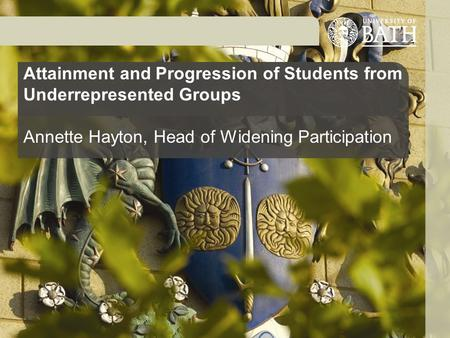 Attainment and Progression of Students from Underrepresented Groups Annette Hayton, Head of Widening Participation.
