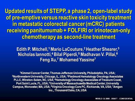 WORLD GI 2008 - DRAFT - CONFIDENTIAL Updated results of STEPP, a phase 2, open ‑ label study of pre-emptive versus reactive skin toxicity treatment in.